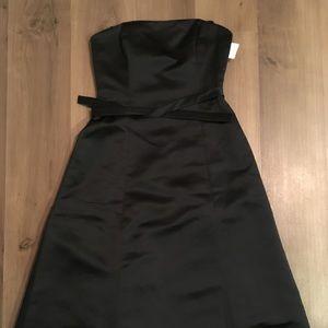 BCBG Black Satin strapless tulle dress Size 8 NWT